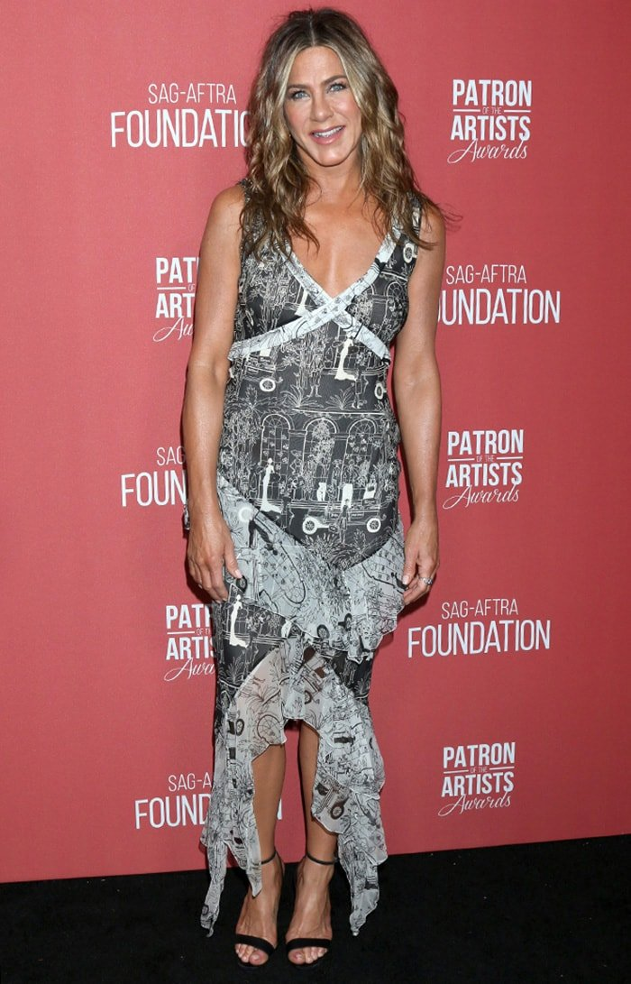 Jennifer Aniston receives the Artists Inspiration Award at SAG-AFTRA Foundation's 4th Annual Patron of the Artists Awards in Beverly Hills on November 7, 2019