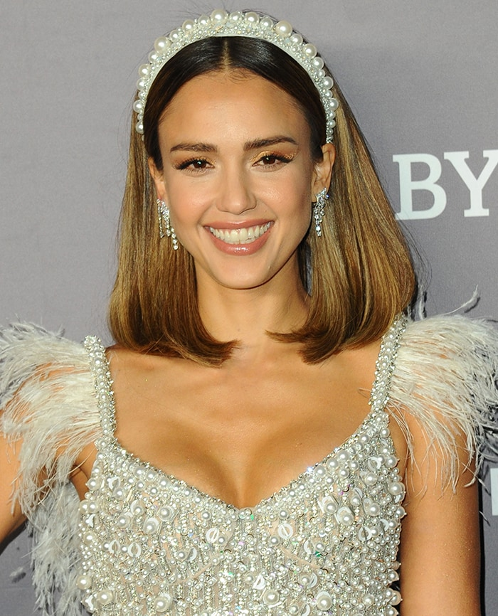 Jessica Alba debuts a new lob haircut styled with a pearl-beaded headband