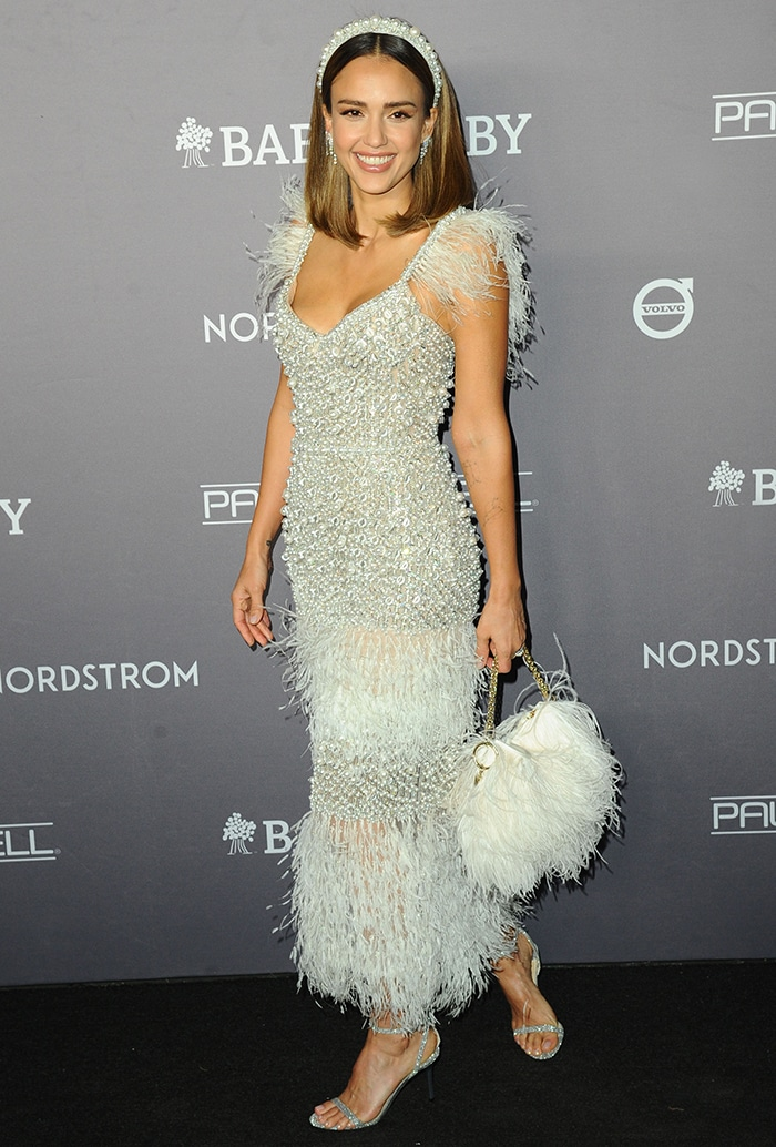 Jessica Alba dazzles in a Ralph & Russo pearl and feather-embellished dress
