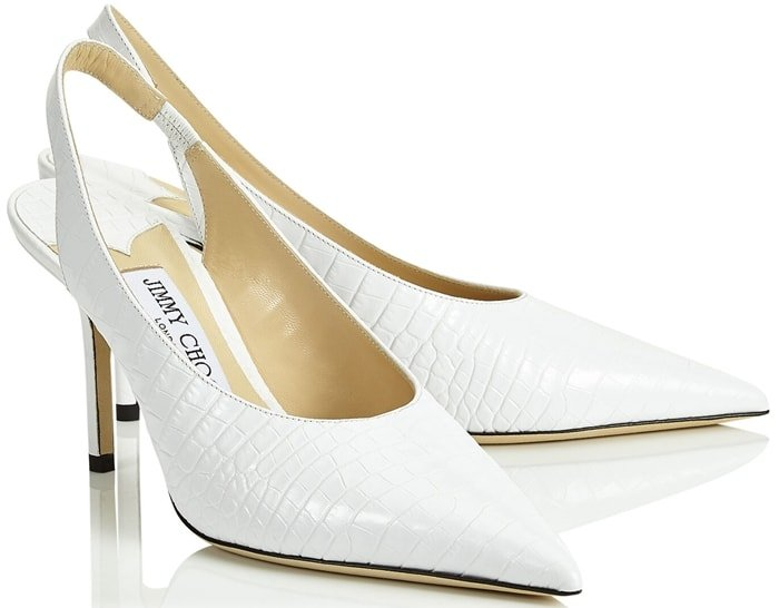 The Ivy style in latte croc embossed leather is designed around an elongated point for a very polished and sophisticated appearance