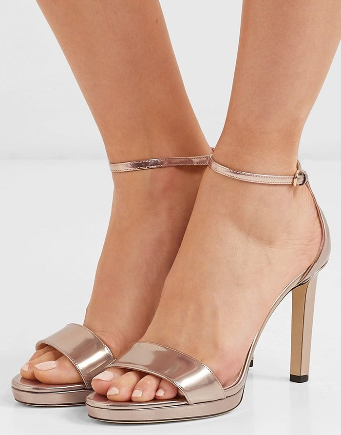 Perfect for parties all year round, this Misty pair has been made in Italy and features a buckled ankle strap and slender heel