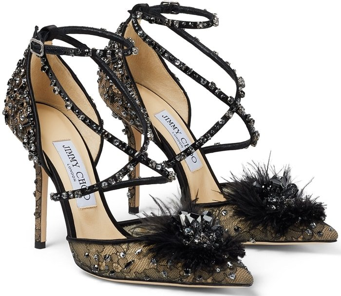 These black lace Odette heels are a showstopping pair destined for decadent evenings