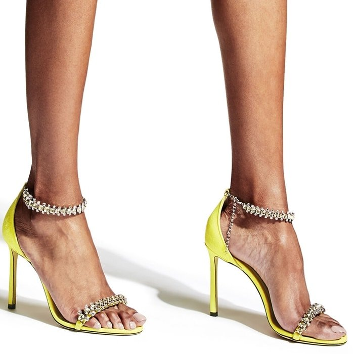 SHILOH 100 Fluorescent Yellow Suede Open Toe Sandal with Jewel Trim