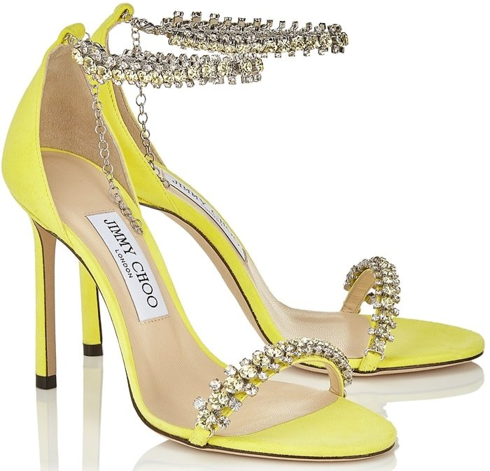 Shiloh 100 in fluorescent yellow suede with jewel trim is the perfect eye-catching evening sandal