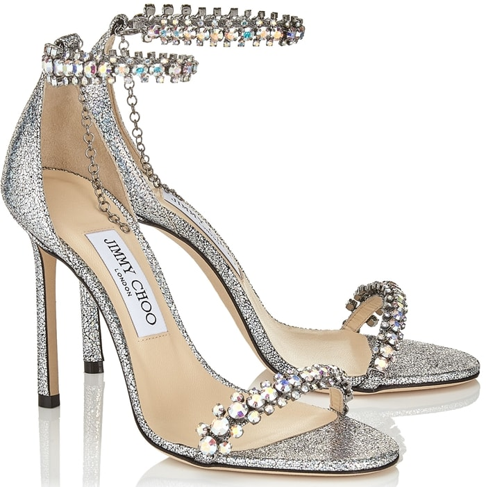 Shiloh 100 in multi hologram leather with jewel trim is the perfect eye-catching evening sandal