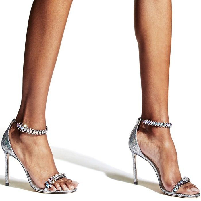 SHILOH 100 Multi Hologram Leather Open Toe Sandal with Jewel Trim