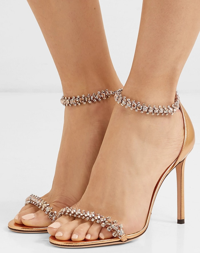 Jimmy Choo's 'Shilo' sandals are the perfect party shoe thanks to the twinkling crystals topping the straps