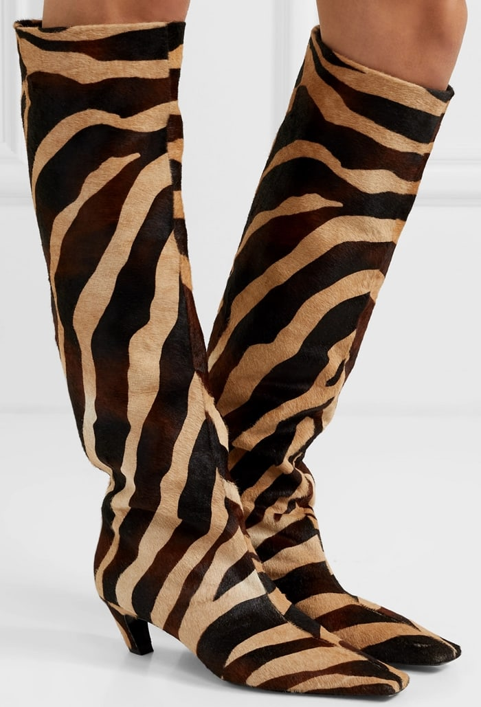 Beige and black leather The Knee-High zebra print boots from Khaite featuring a square toe, a knee length and a mid-heel