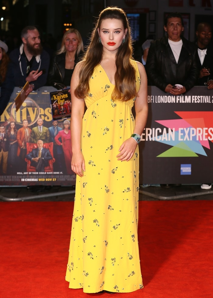 Katherine Langford looked ready for summer in a yellow Prada dress at the premiere of Knives Out