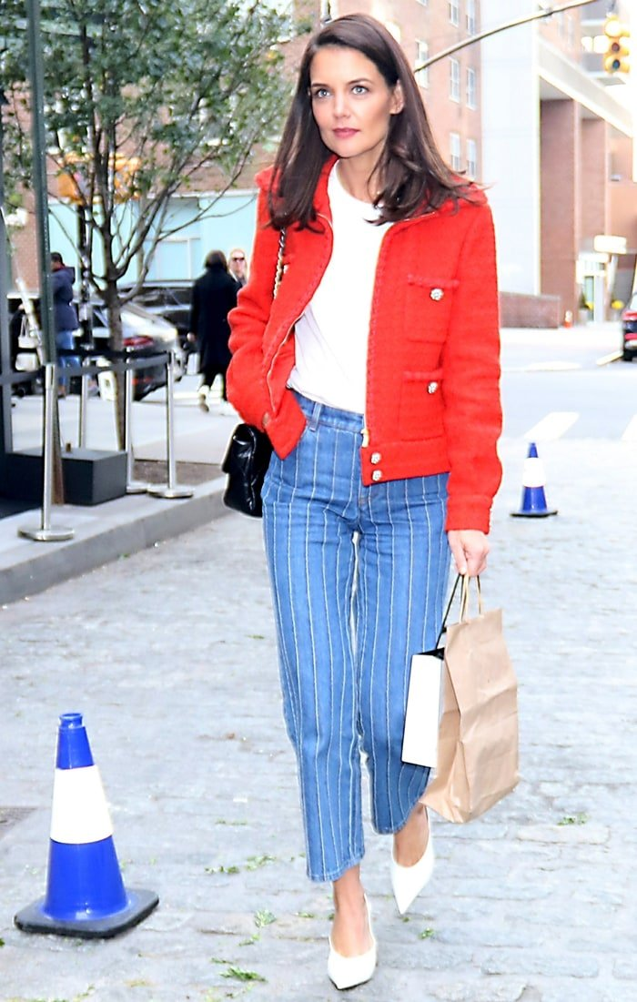 Katie Holmes arrives at the annual Through Her Lens: The Tribeca Chanel Women's Filmmaker Program Luncheon