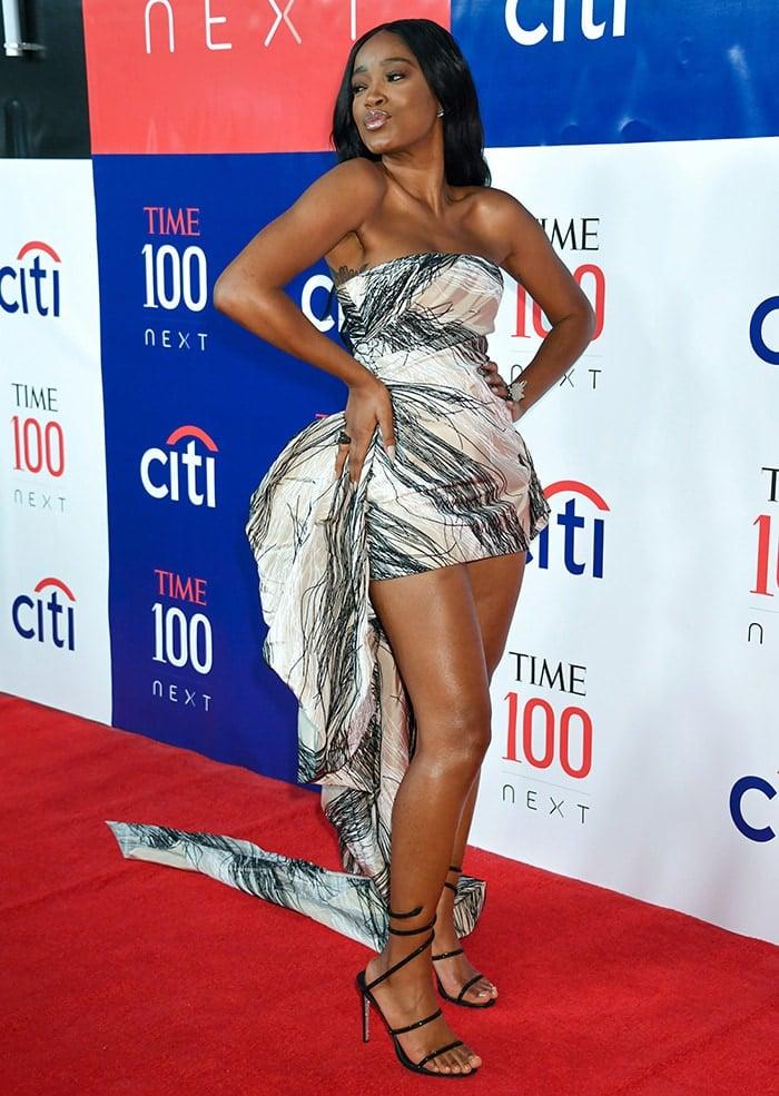 Keke Palmer shows off her legs in a Cong Tri printed mini dress