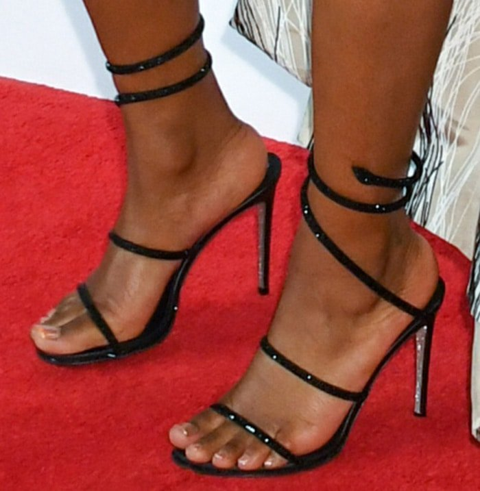 Keke Palmer shows off her feet in Rene Caovilla sandals