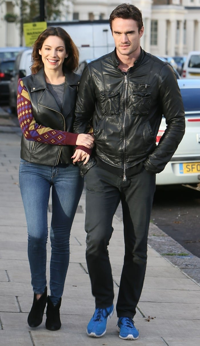 Kelly Brook out with boyfriend Thom Evans