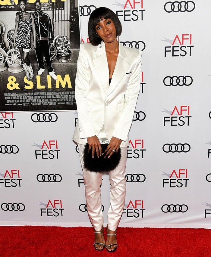 Kelly Rowland in a white pantsuit at the premiere of Queen & Slim during the AFI Fest in Hollywood on November 14, 2019