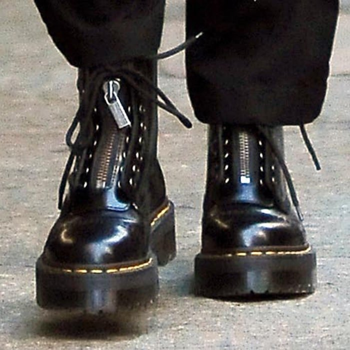 A close up of Kendall Jenner's Dr. Martens boots