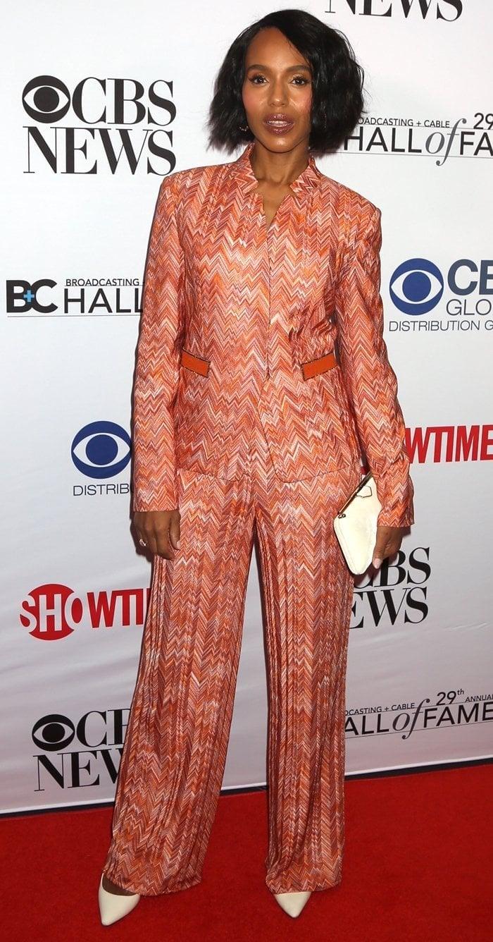 Kerry Washington's Missoni orange chevron print knit mandarin collar jacket with matching wide-leg pants