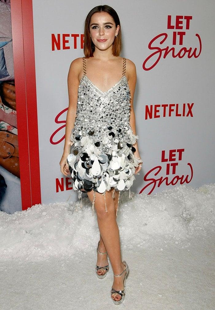 Kiernan Shipka flaunts her legs at the premiere of her Netflix movie, Let It Snow, in Los Angeles