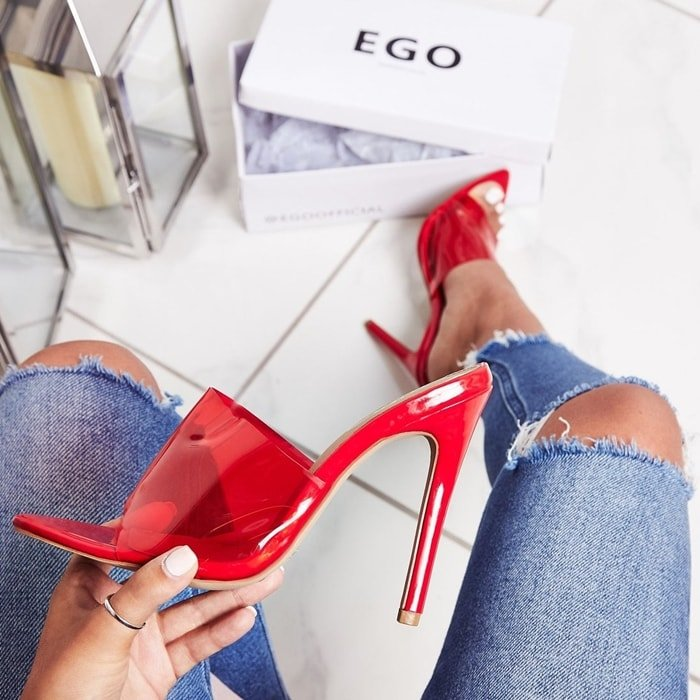 Kilo mule featuring perspex upper, stiletto heel and patent finish