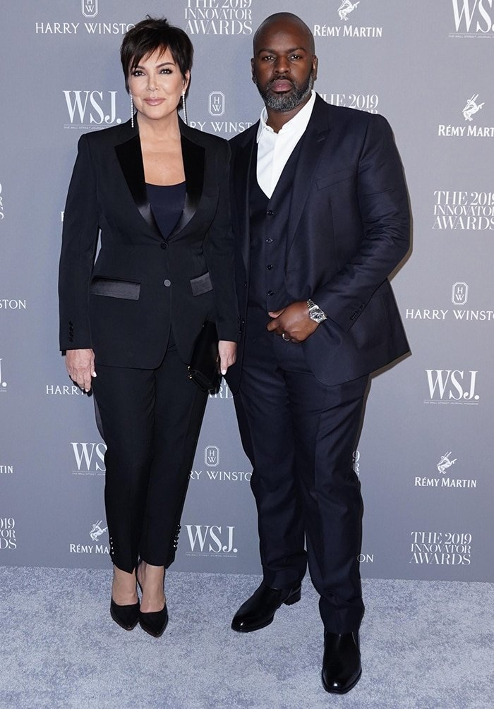 Kris Jenner and Corey Gamble wear matching suits at the WSJ Innovator Awards
