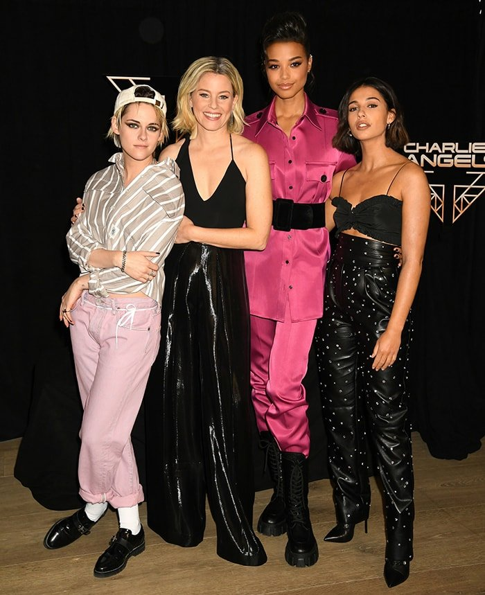 Kristen Stewart, Elizabeth Banks, Ella Balinski, and Naomi Scott at the Charlie's Angels photocall held at The Whitby Hotel in New York City on November 7, 2019