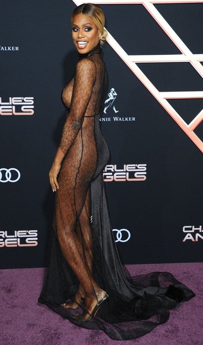 Laverne Cox did not leave much to the imagination in a naked dress by Turkish fashion designer Hakan Akkaya