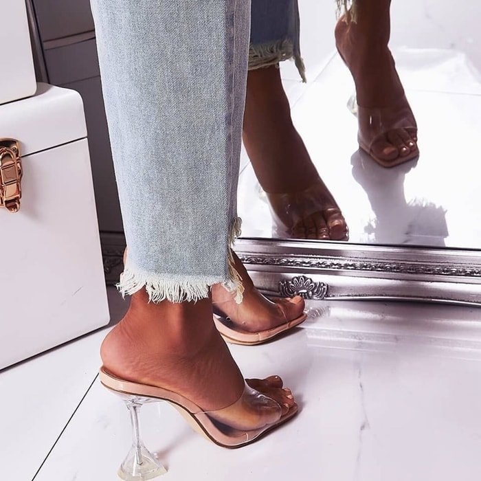 This versatile nude patent and perspex square toe mule that works with everything from straight leg jeans to floaty shorts and that white bodycon mini you've been saving to wear