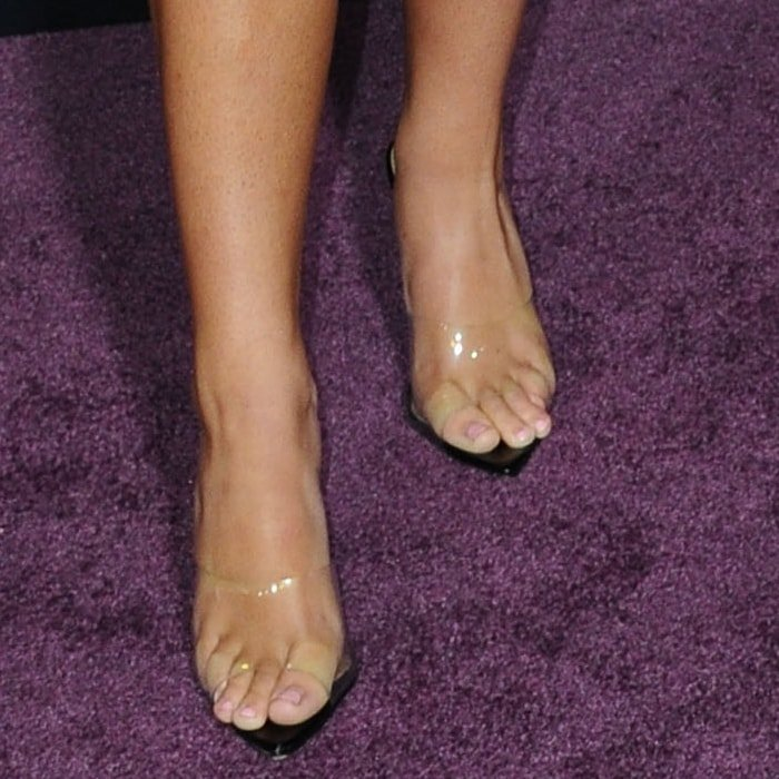 Mackenzie Frances Ziegler showed off her feet in Kilo perspex peep-toe mules