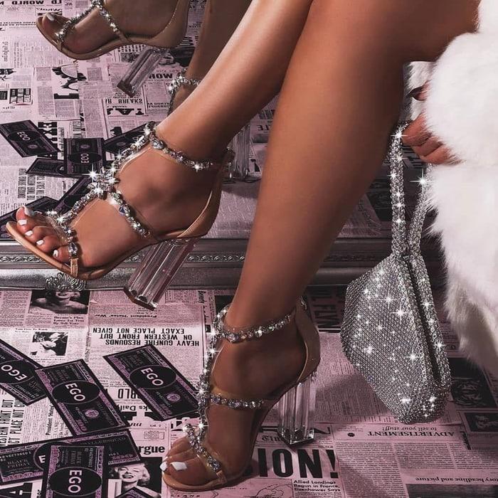 Merryme Jewel Embellished Perspex Block Heels