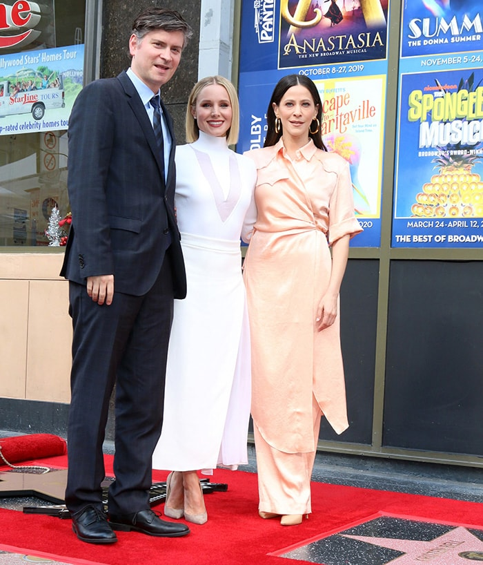 The Good Place creator Michael Schur and actress Jackie Tohn help honor Kristen Bell