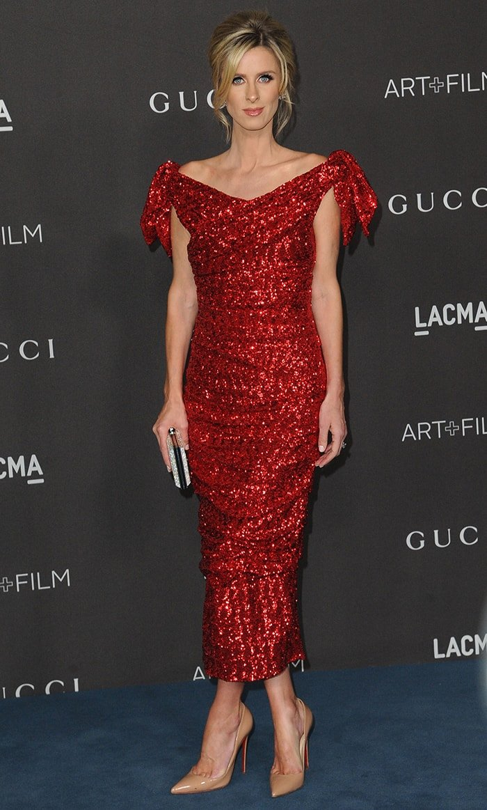 Nicky Hilton opts for a Dolce and Gabbana glittery red dress