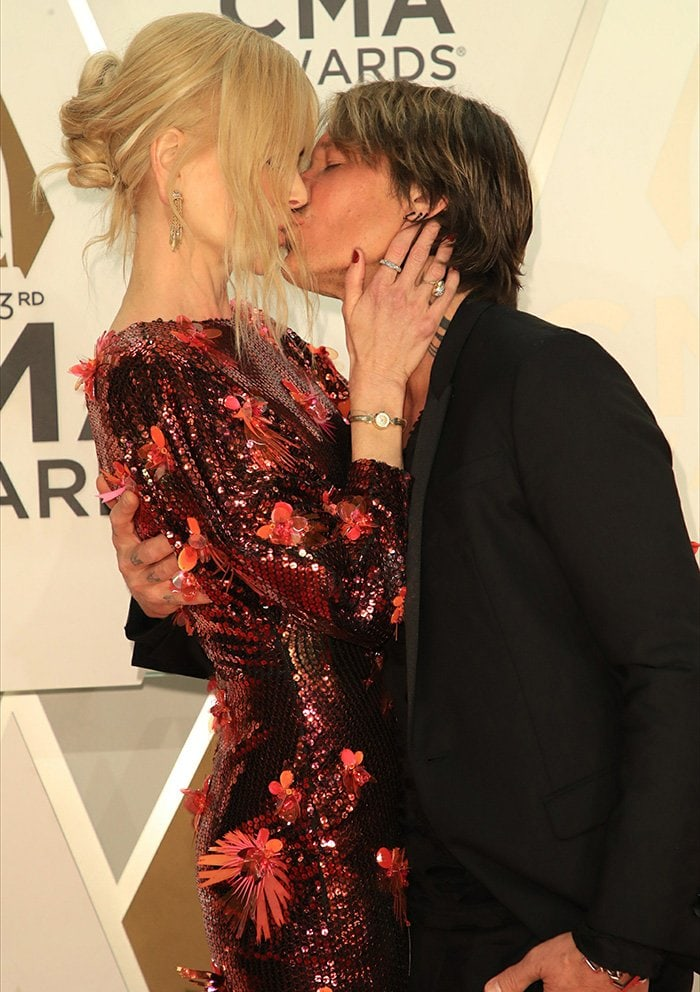 Nicole Kidman and Keith Urban share a kiss on the red carpet at the 53rd Annual Country Music Association Awards held at Bridgestone Arena in Nashville, Texas on November 13, 2019