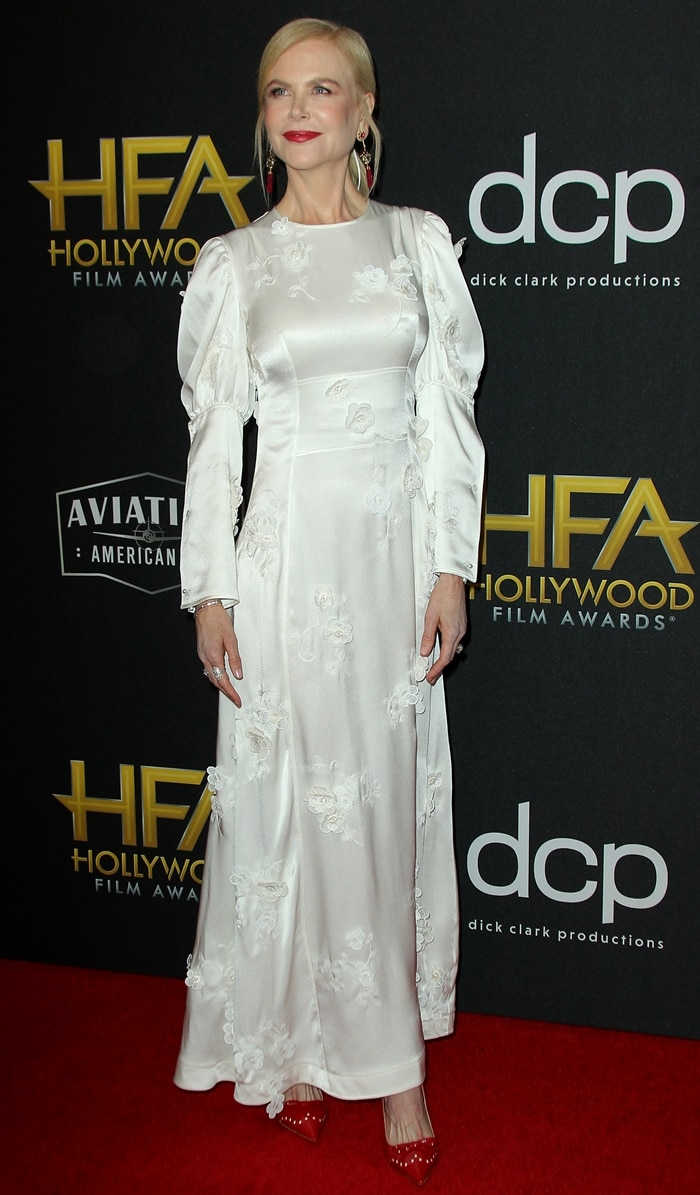 Nicole Kidman styled her bridal dress with red patent leather brogue detail slingback pumps from Miu Miu