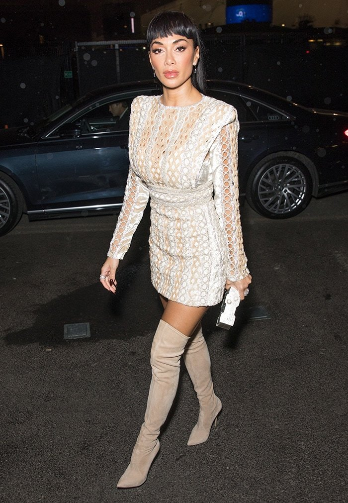 Nicole Scherzinger flaunts her curves in Raisa Vanessa cutout mini dress