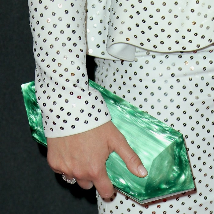 Olivia Wilde's green Tyler Ellis Lily hard-framed rectangular clutch