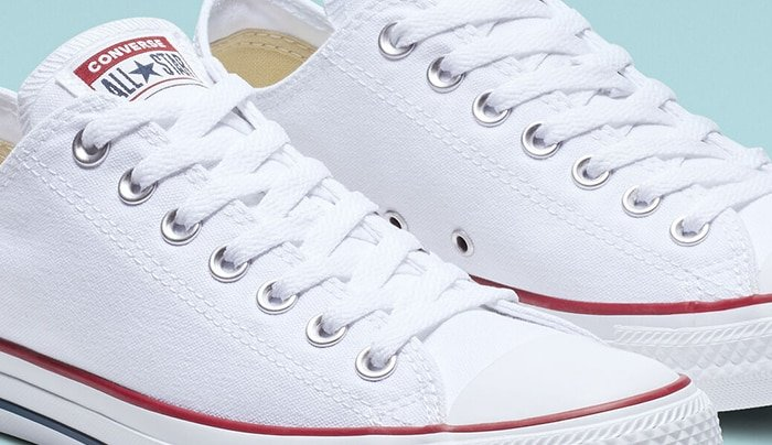 Converse shoes with sturdy stitches on the upper