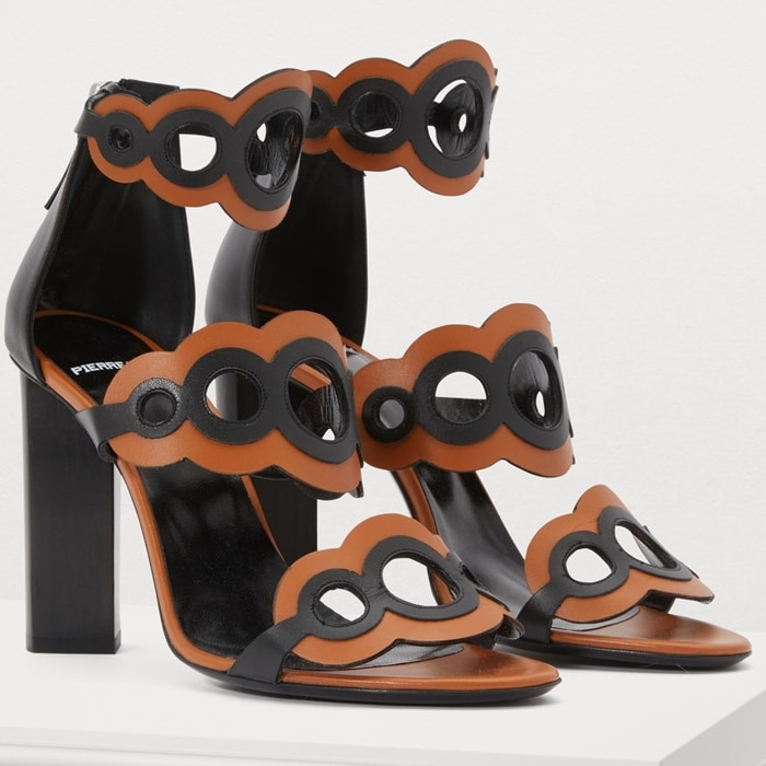 Black and brown calf leather Saloni sandals from Pierre Hardy featuring a high block heel, an almond toe, eyelets, an ankle strap with a side buckle fastening and a branded insole