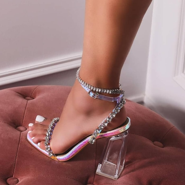 Rally Diamante Detail Flared Perspex Block Heels
