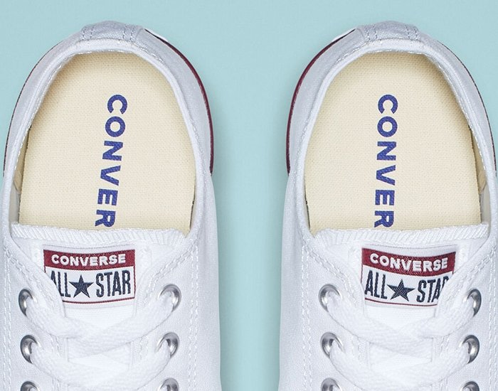 The inner soles of white Converse All Star shoes