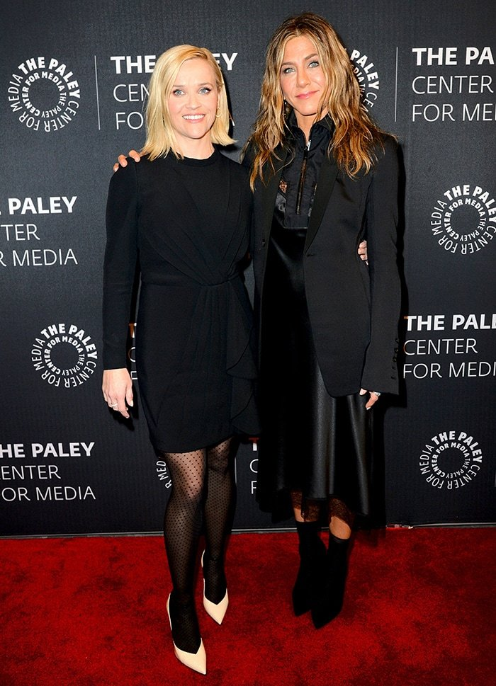 The Morning Shoe lead stars Reese Witherspoon and Jennifer Aniston at the premiere of the Apple TV+ series at The Paley Center in New York City on October 29, 2019