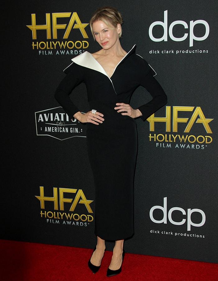 Renee Zellweger shows off her slim figure in AWAKE pencil dress