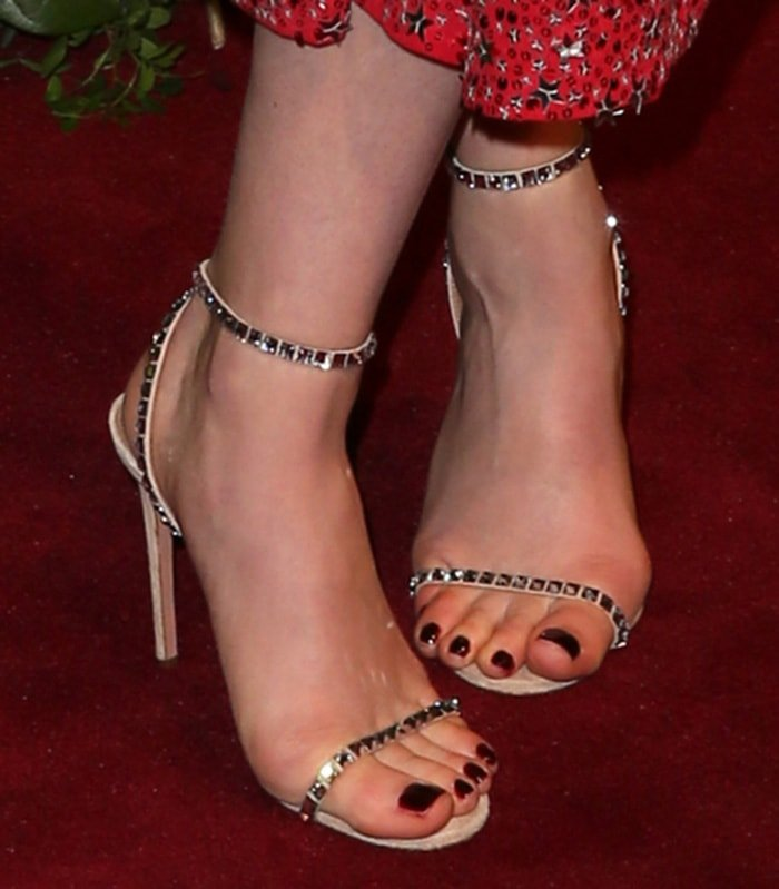 Ruth Wilson adds extra sparkle to her look with Aquazzura sandals
