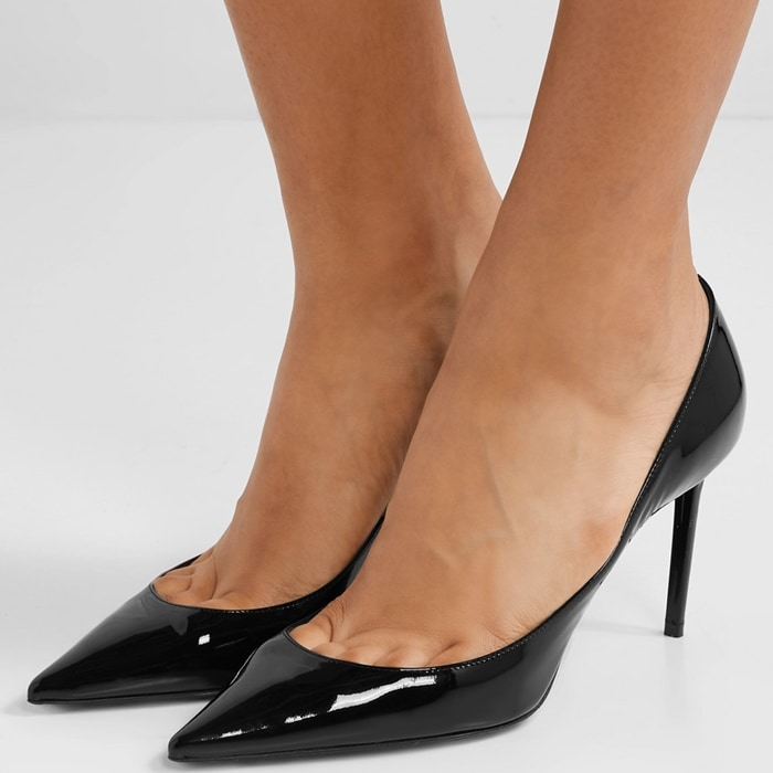 Made in Italy from glossy patent-leather, this pump is set on a manageable 85mm heel and has a deep-cut vamp and pointed toe that will visually elongate legs