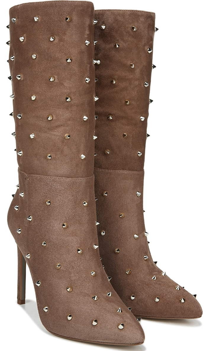 Edgy conical studs bring show-stopping appeal to a slightly slouchy boot designed with a pointed toe and svelte stiletto heel