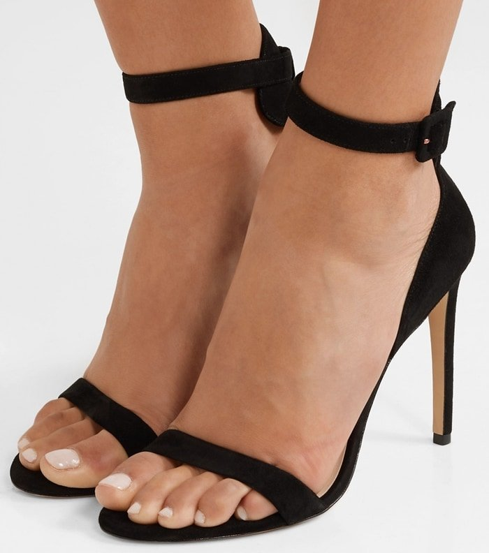 Black Nicole Naked High-Heel Suede Ankle-Wrap Sandals