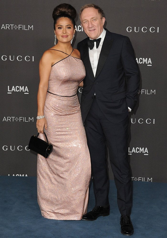 Salma Hayek poses with her husband Francois-Henri Pinault at the 2019 LACMA Art + Film Gala