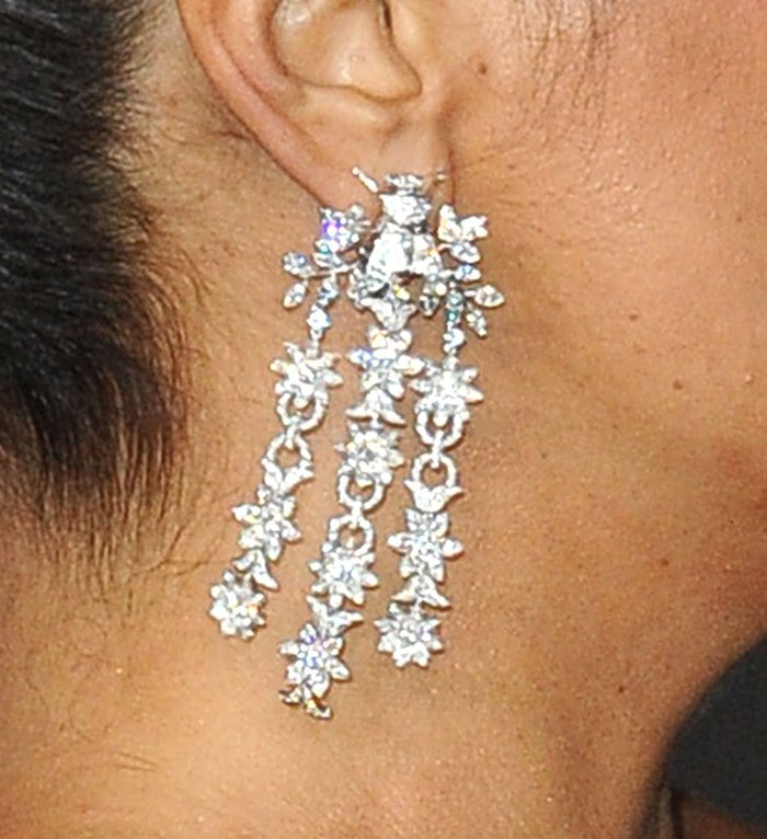 Salma Hayek wears diamond earrings from Gucci's high jewelry collection
