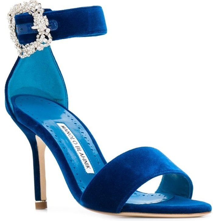 This elegant satin sandal will take you through the event season in style with an ankle strap with a side buckle fastening, a Swarovski crystal buckle, an open toe, a branded insole, a leather sole, and a stiletto heel
