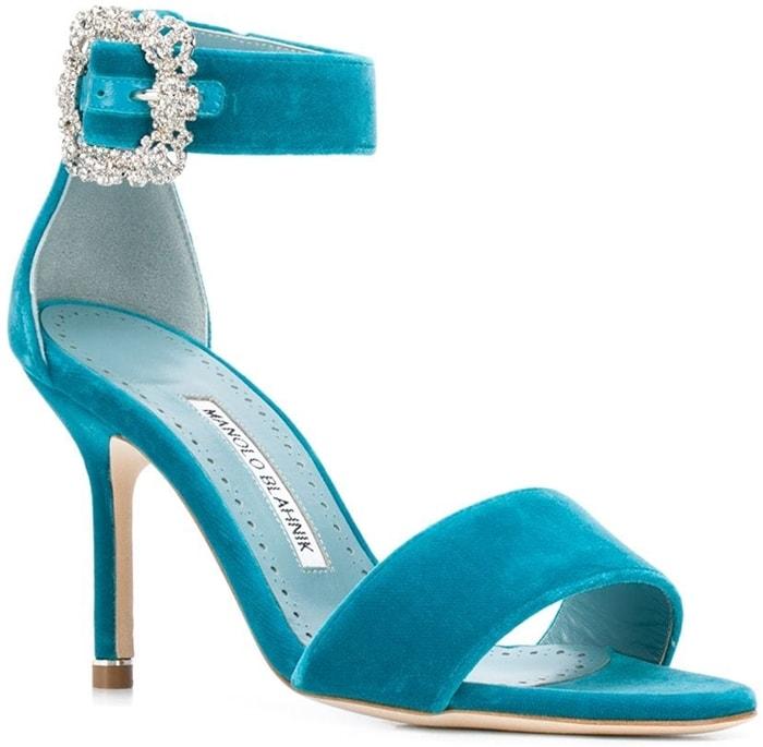 Bright blue velvet Sanghal sandals from Manolo Blahnik
