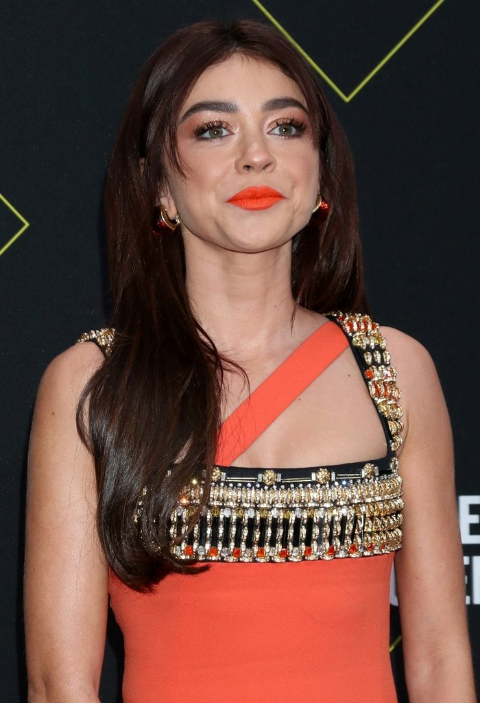 Sarah Hyland wears an embellished tree dress from Fausto Puglisi