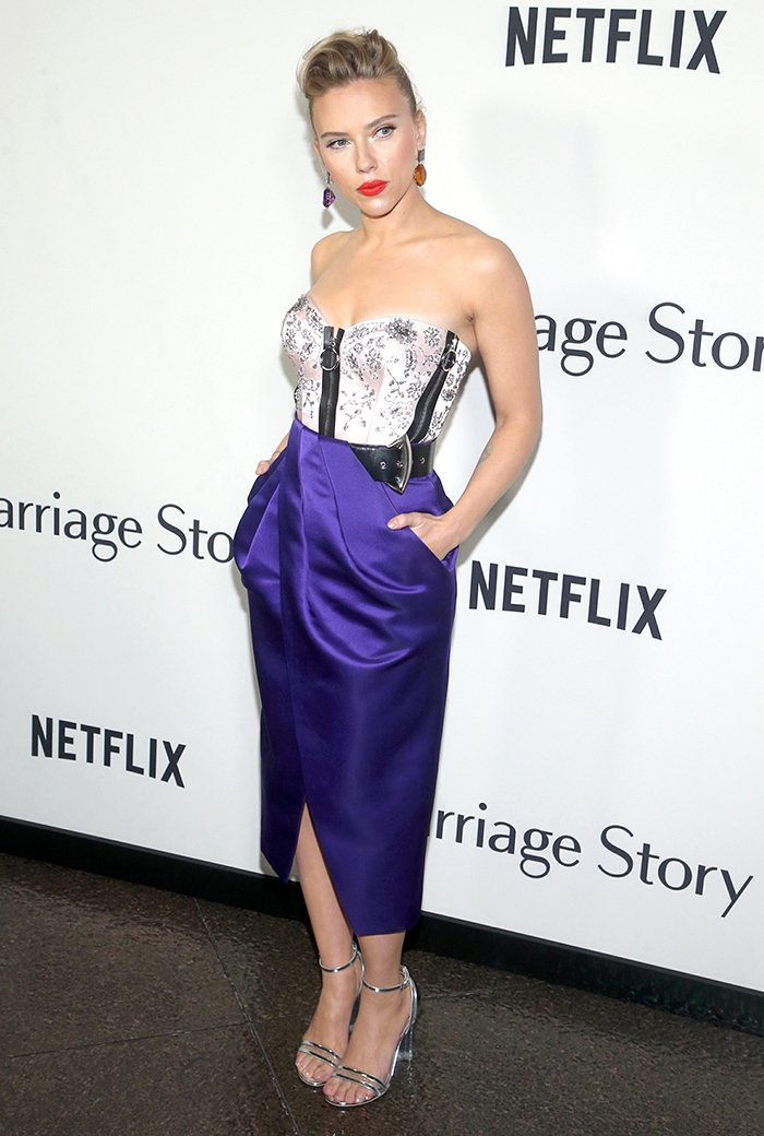 Scarlett Johansson wears a Louis Vuitton resort 2020 bustier dress